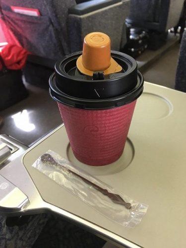 スーパービュー踊り子号のグリーン車 車内サービスのコーヒー