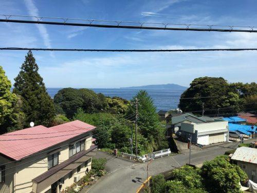 スーパービュー踊り子号のグリーン車車窓から伊豆大島