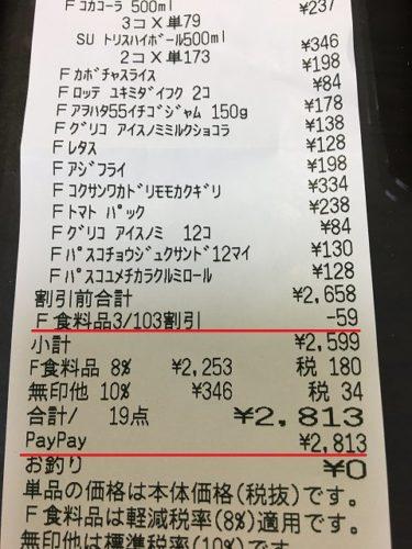 PayPay春のスーパーマーケット大還元祭のレシート
